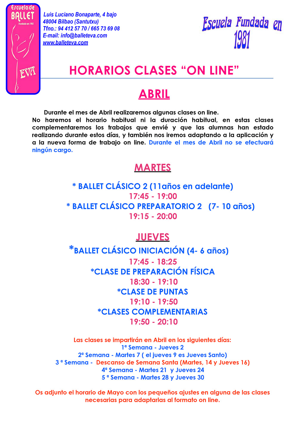 Horario2020 Clases Abril Mayo 1